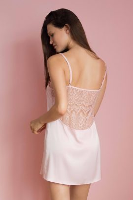 Sexy & luxury pink women's short chemise nighty with lace image | IDentity Lingerie UK