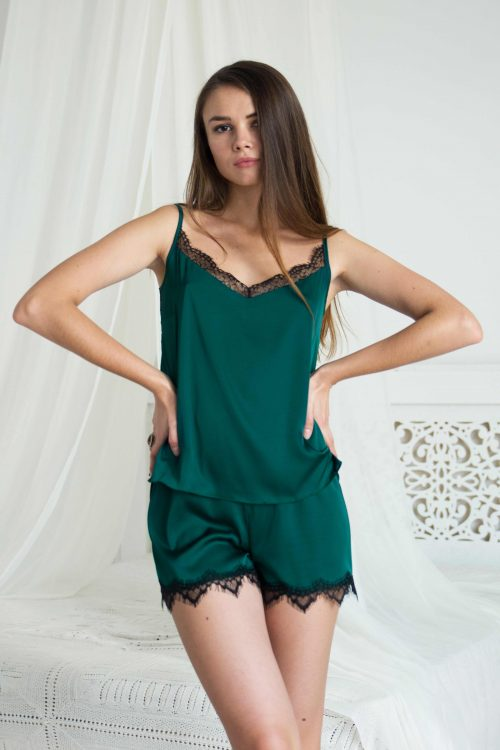 Green & black satin silk pyjama shorts with lace picture | IDentity Lingerie