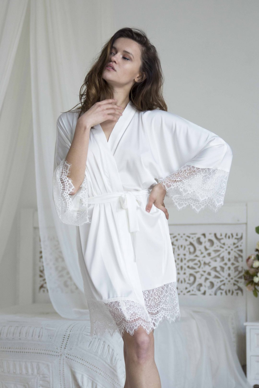 Picture of a white bridal satin silk dressing gown with lace | Bridesmaids robe for wedding party | IDentity Lingerie UK