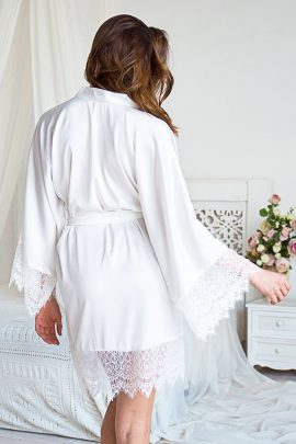 Image of beautiful silky knee-length satin dressing gown with lace for bride and bridesmaids