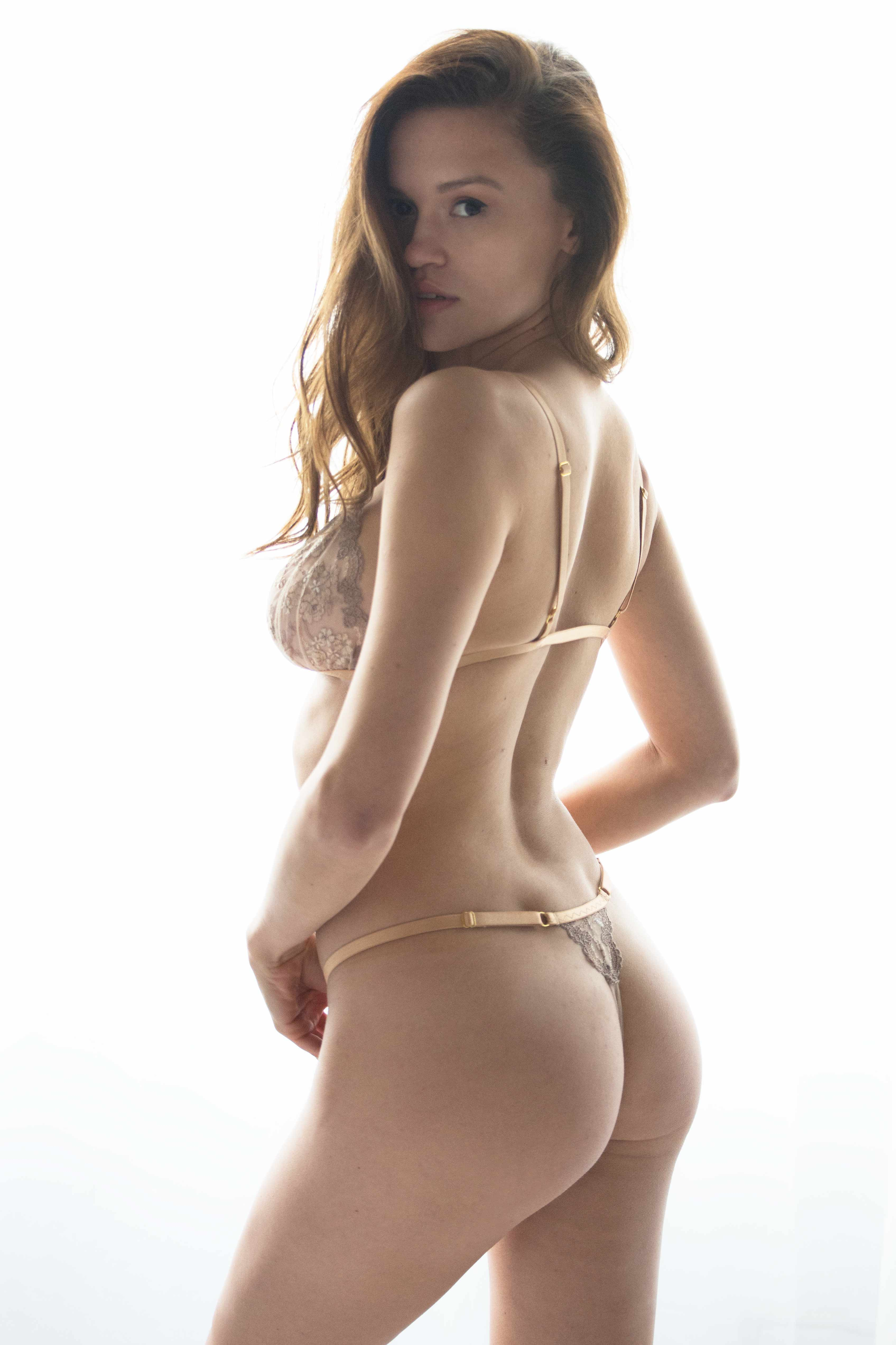 Sexy nude gold lace unlined bralette bra set with a front closure image | IDentity Lingerie UK