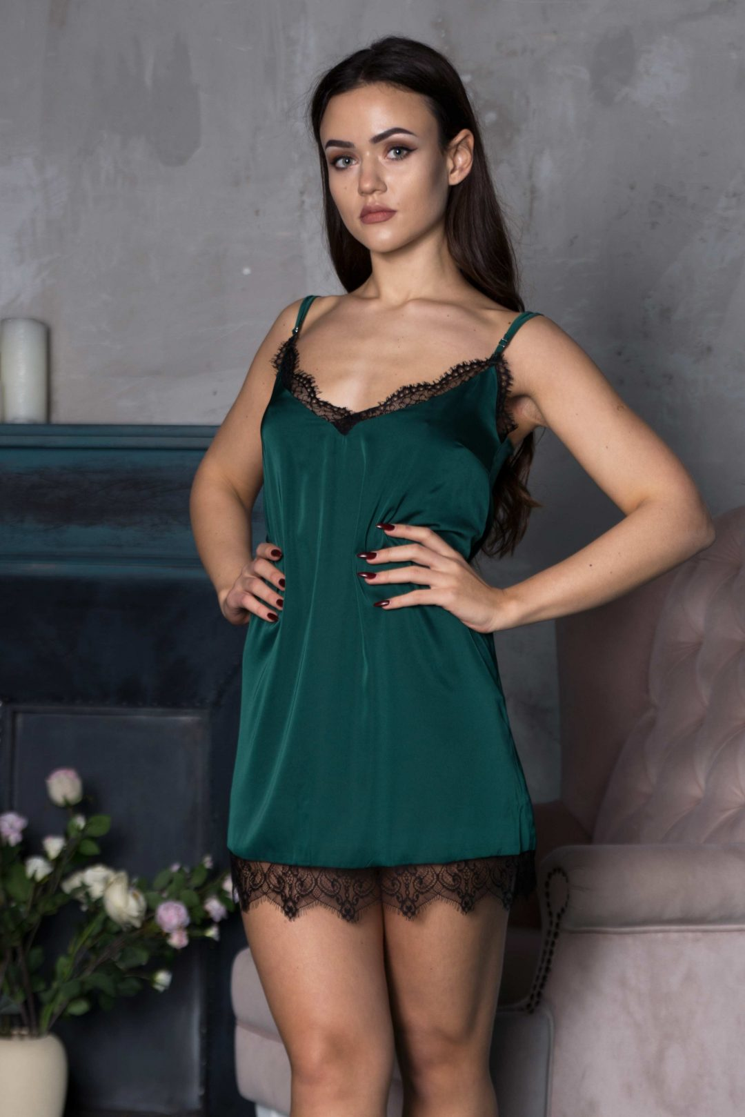 Sexy & hot green ladies short chemise night dress with lace photo | IDentity Lingerie UK