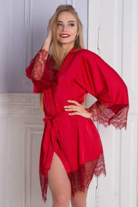 Picture of silky satin robe with lace trim sleeves