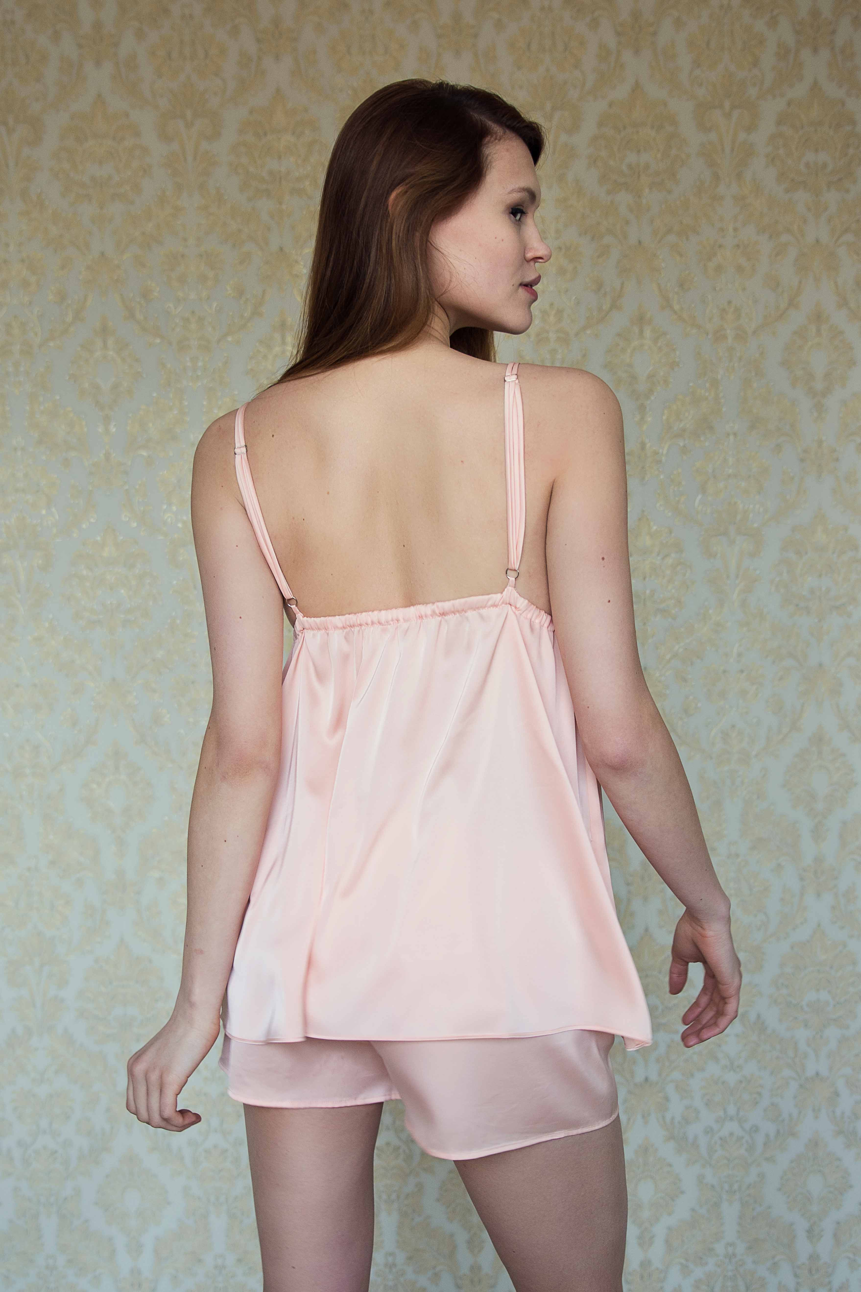 Orange satin silk babydoll pajama with floral lace image | IDentity Lingerie
