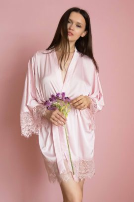 Cute short satin pick kimono robe | Luxury silk plus size ladies dressing gown image | IDentity Lingerie UK