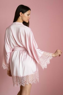 Cute short satin pick kimono robe | Luxury silk plus size ladies dressing gown photo | IDentity Lingerie UK