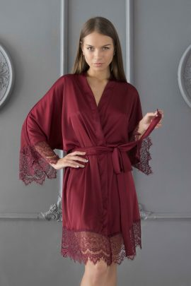 Picture of sexy silky satin red burgundy kimono robe