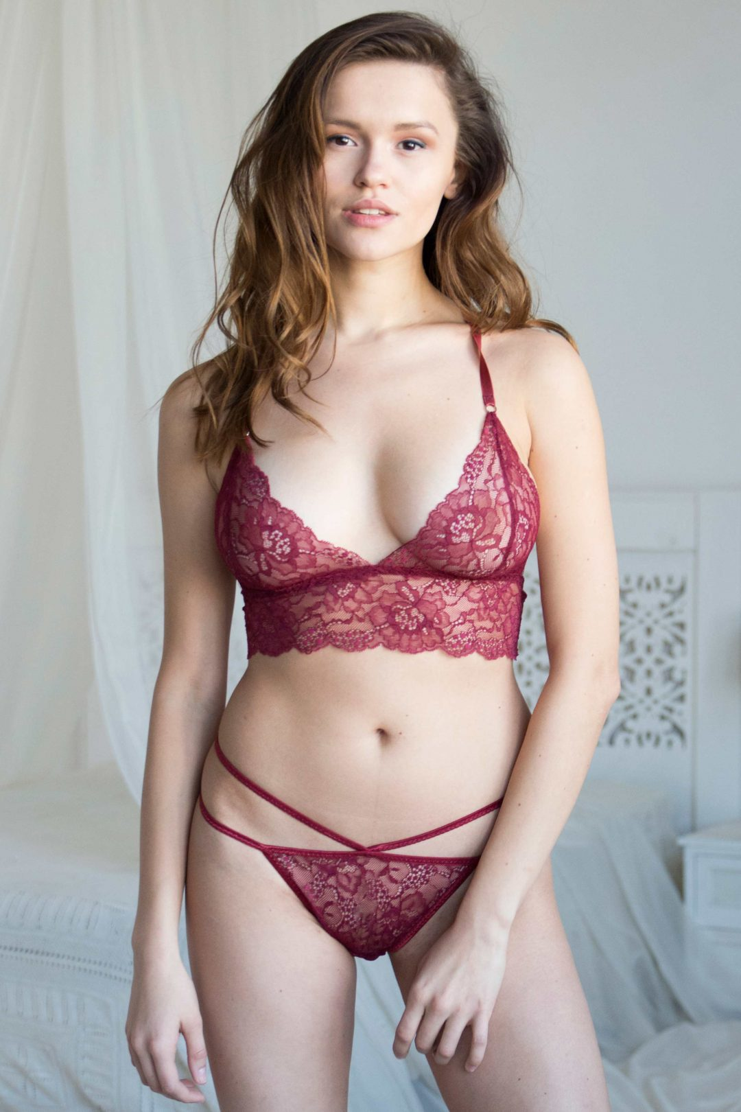 Burgundy see through longline lace unlined bralette bra & thong set with a strappy back picture | IDentity Lingerie UK