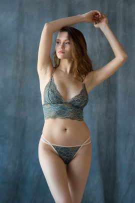 Picture of a sexy green longline strappy & harness lace unlined bralette bra & panty set | IDentity Lingerie UK