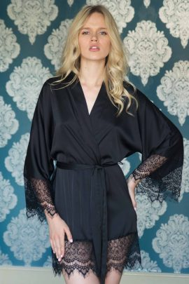 Image of black satin short lace dressing gown