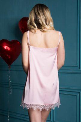 Beautiful pink ladies short chemise night dress with lace image | IDentity Lingerie UK