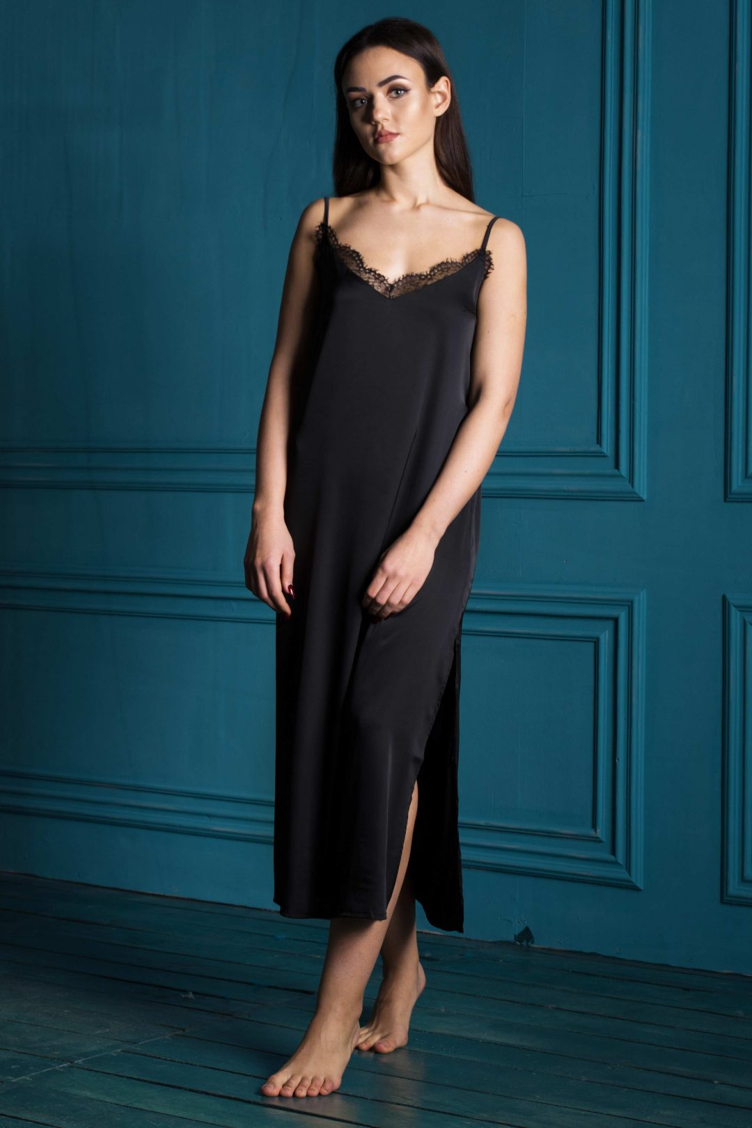 Picture of a black sexy & pretty sleeveless women's long chemise nightgown | IDentity Lingerie UK