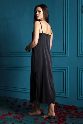 Image of Satin Nightgown. Gorgeous black silky satin sleeveless women's long nightgown.