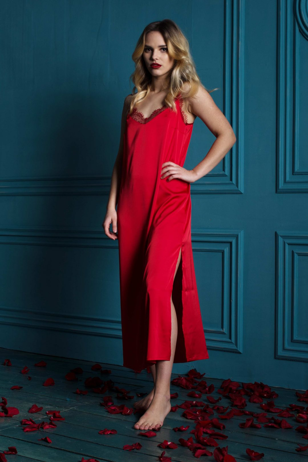 Picture of a red sexy & elegant women's long nightgown chemise | IDentity Lingerie UK