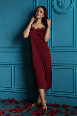 Picture of burgundy luxury women's maxi nightgown chemise with lace.