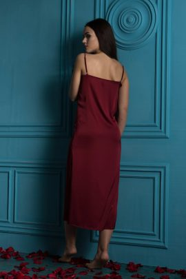 Picture of Satin Nightgown. Beautiful burgundy red women's maxi nightgown chemise with soft lace trim.