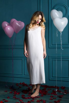 Photo of Satin Wedding Nightgown. White sleeveless women's long chemise for brides and bridesmaids.