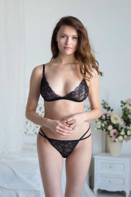 Sexy black lace unlined bralette bra & string set photo | IDentity Lingerie UK