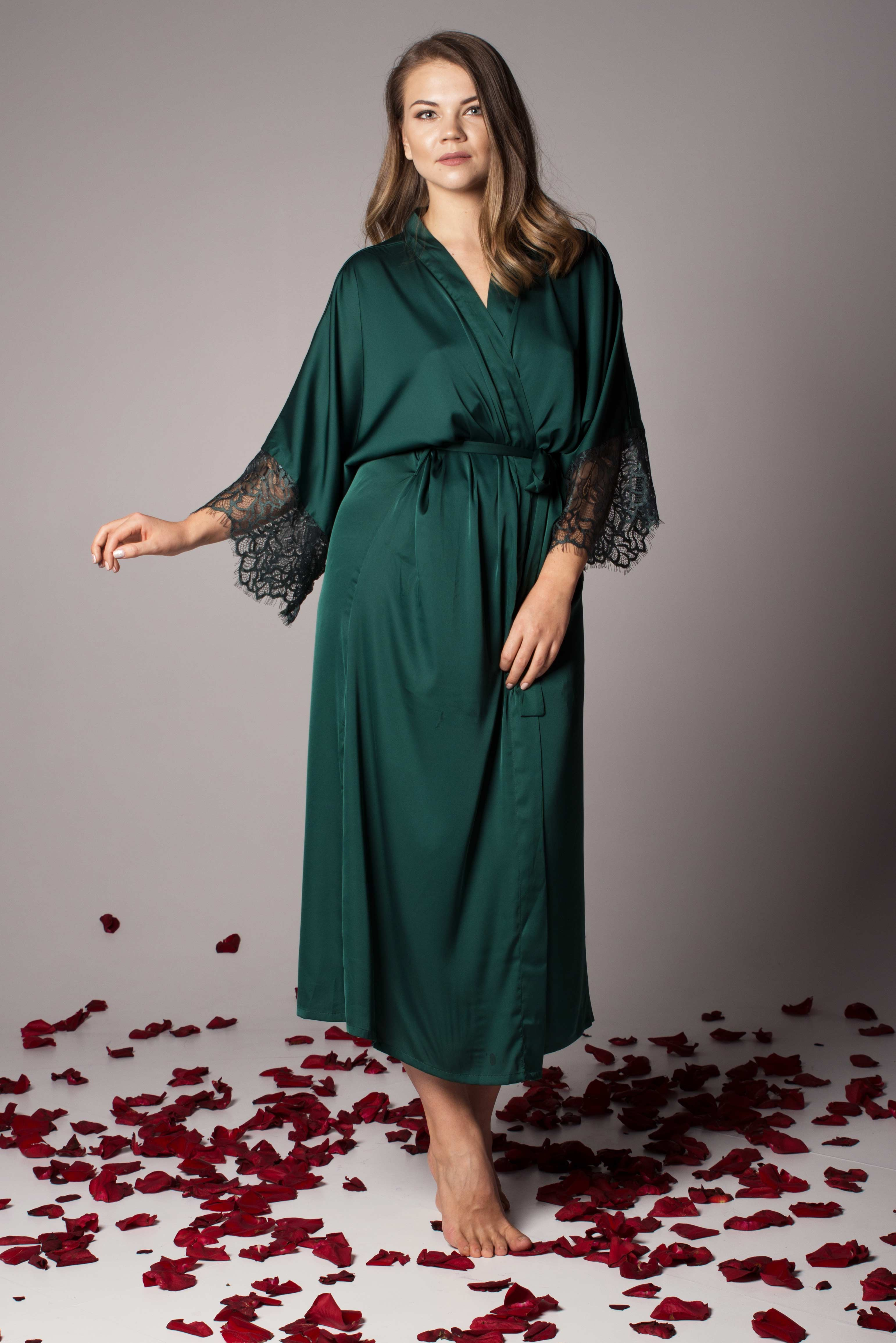 Buy Satin Women\'s Dressing Gown - Long Robe in Green, Navy | UK