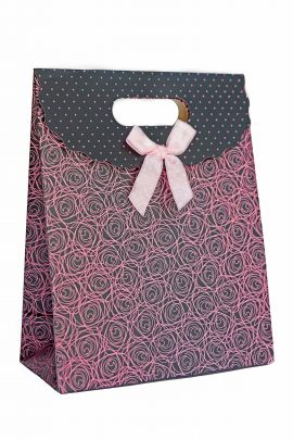 roses and polka print gift bag pink bow tie