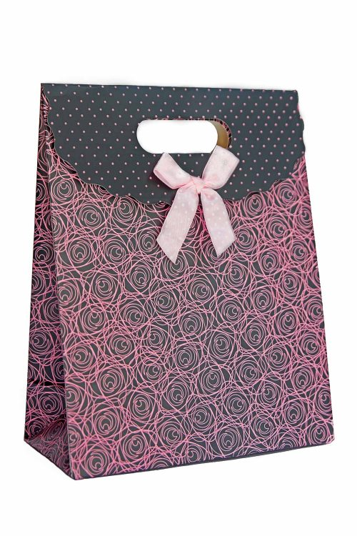 roses and polka print gift bag pink bow tie
