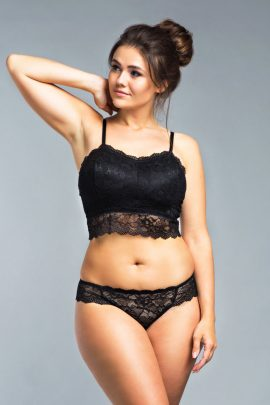 Picture of a supportive wireless black lace bralette set.