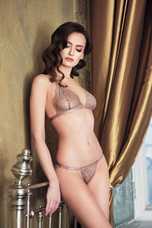 Photo of a wireless triangle gold bra set with low-rise knickers
