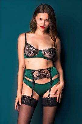 Picture of a silky soft handmade green satin bra with lace.