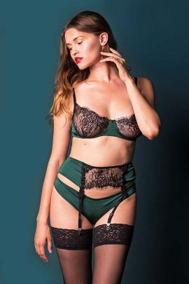Image of a Satin Bra Set. Sexy and comfortable see-through silky satin bra with soft lace cups.