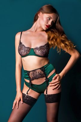 Image of a see through green and black lace bra.
