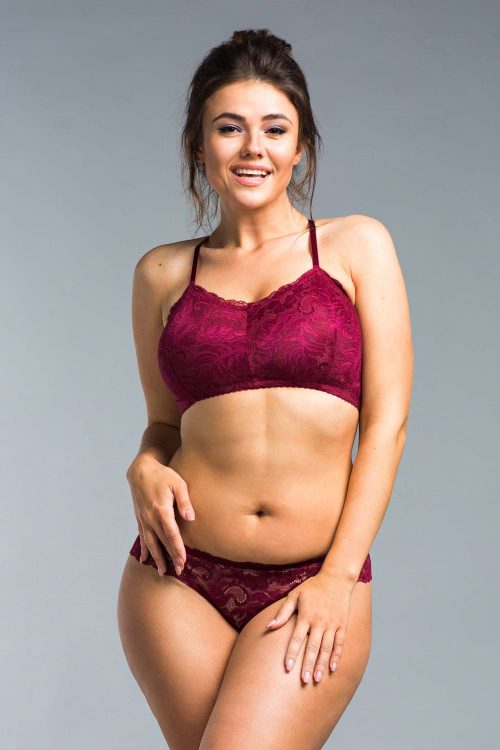 Picture of a supportive wireless pink lace bralette