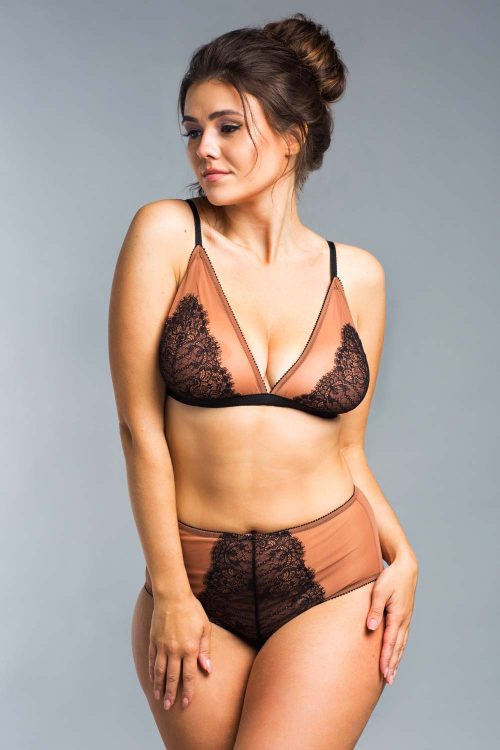 Picture of an unlined black and nude lace bralette and high-waisted panty