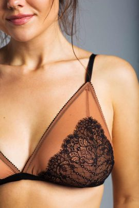 Image of a wireless black and nude lace bralette
