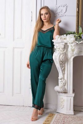 Picture of luxury green silky satin pajama set with soft lace trim.