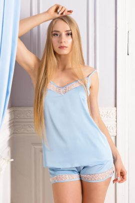 Image of beautiful light blue silky satin lace trimmed pyjama set with top and shorts.