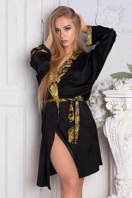 Photo of Satin Dressing Gown. Beautiful black short silky kimono robe with paisley trim.