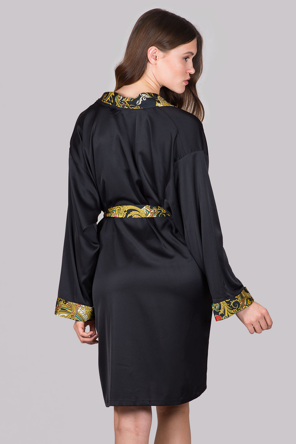 Photo Satin Dressing gown - black silky robe with print long sleeve XS to XXL