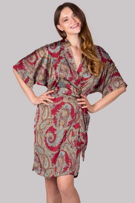Picture of knee-length burgundy paisley satin dressing gown