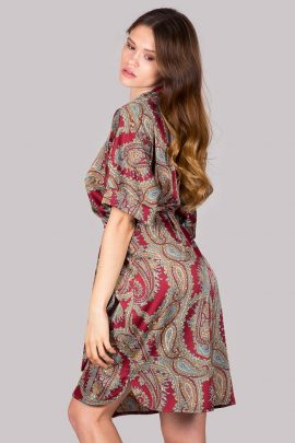 Image of paisley print short sleeve silky satin dressing gown