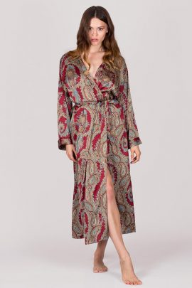 Picture Satin Dressing Gown - Long sleeve silky satin burgundy print Robe XS to XXL comfortable fit