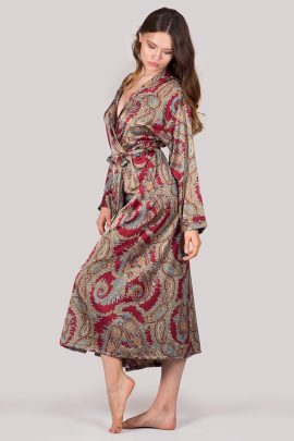 Image of ankle-length silky satin burgundy paisley dressing gown