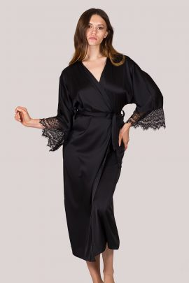 Image of long ankle-length black silky satin kimono with lace sleeves.