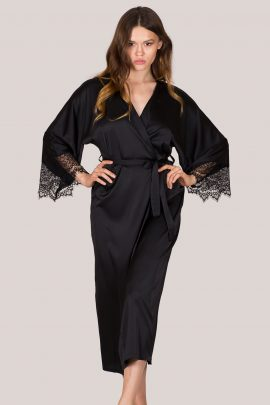 Photo of Satin Dressing Gown. Long black silk kimono robe with lace sleeves.