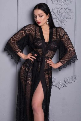 Picture of black bridal sheer first night sexy dressing gown