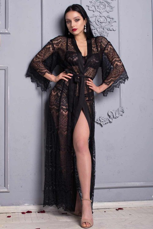 Picture of a black floor-length long lace robe beautiful luxury dressing gown