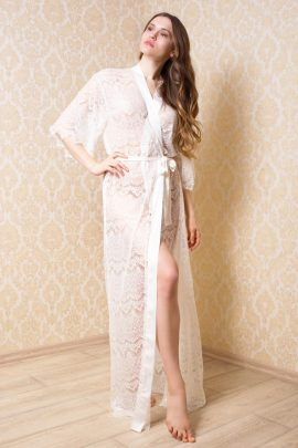 Picture of a floor-length see-through sheer bridal long robe for honeymoon