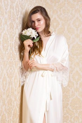 Image of long white bridal honeymoon satin dressing gown with luxury lace trim sleeves