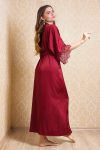 Image of a burgundy long silky satin dressing gown for bride and bridesmaid