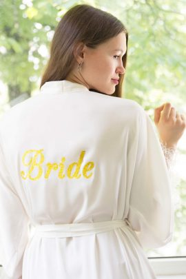 Image of White Satin Robe. Gorgeous personalised long white silky satin kimono dressing gown with lace.
